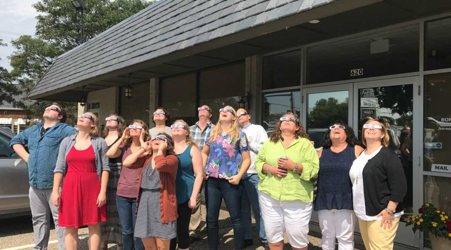 All Staff Photo 3 Solar Eclipse August 21, 2017
