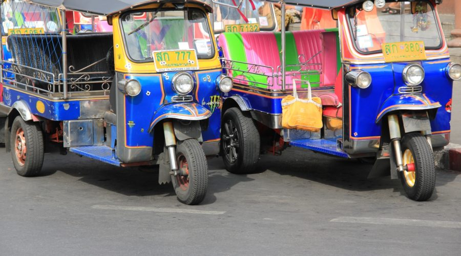 Bangkok Tuk Tuks Parked, Waiting For Customers Web Ready