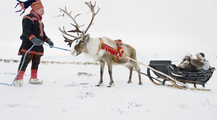 Couple Driving Reindeer Sledge, Finnmark Terje Rakke, Nordic Life, Visitnorway.com Web Ready