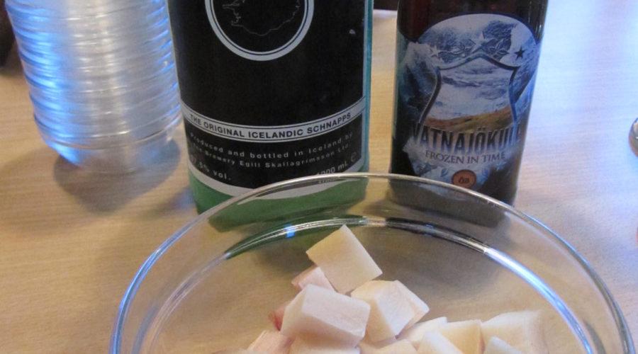 Hakarl Fermented Shark, Brennivin And Vatnajökull Beer. Maria Sievers 3142 Web Ready