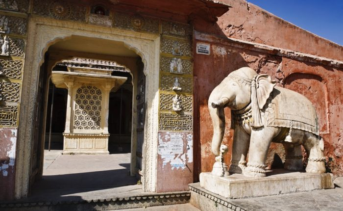 Jaipur, Marble Elephant Statue At The Entrance Of An Hindu Temple