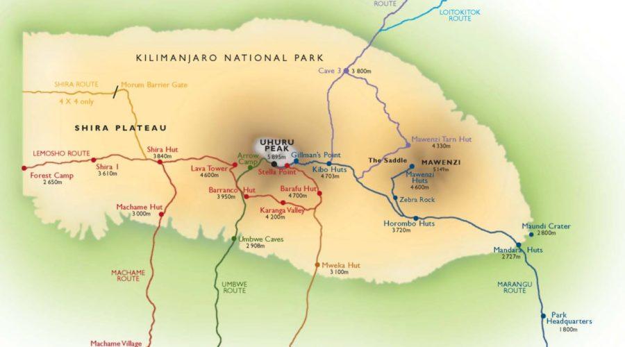 Kili Route Map