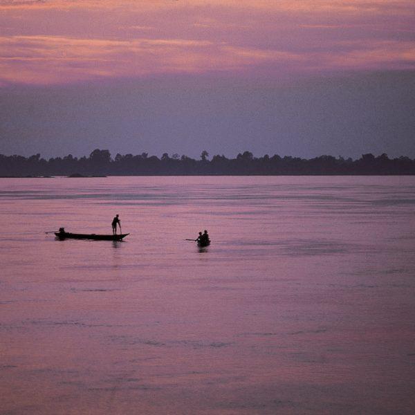 Laos Mekong River At Night