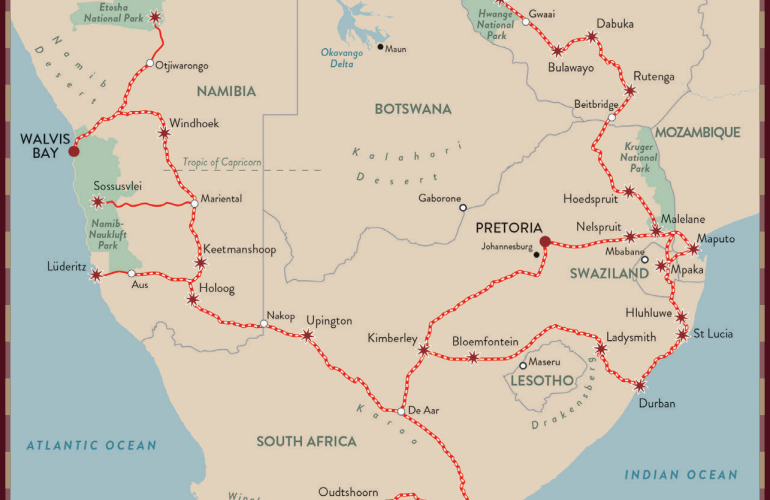 Shongololo Express Journeys Map