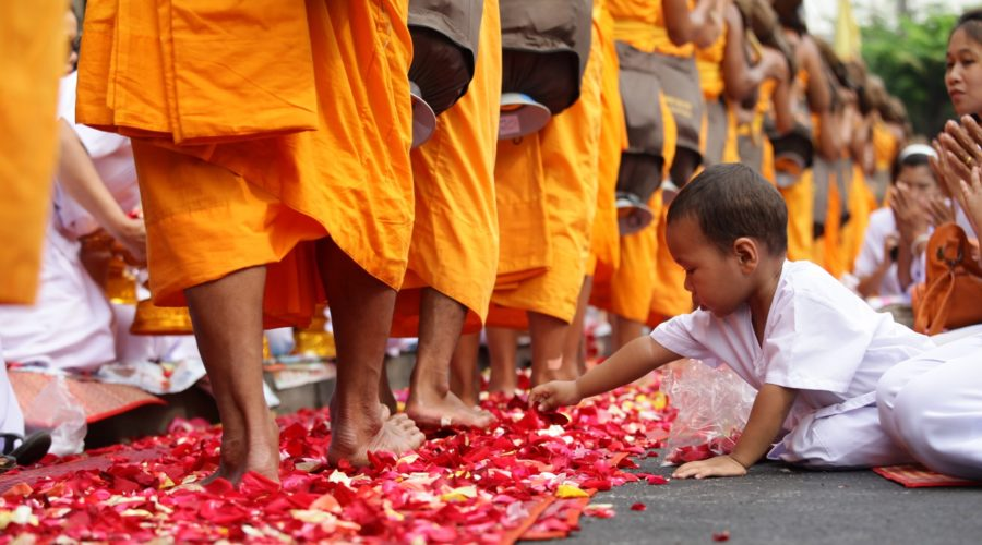 Thailand Monk Walking Flower Path (3) Web Ready