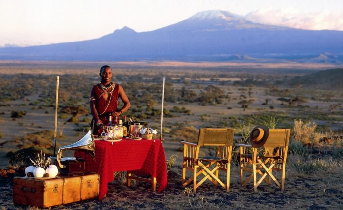 Sundowners In Front Of Kilimanjaro Tortilis Camp