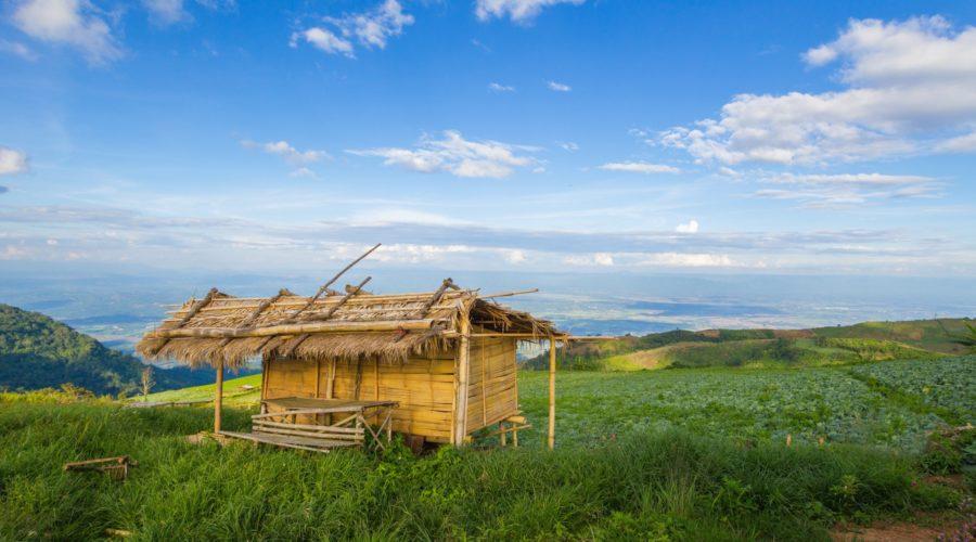 Wooden Hut In Northern Thailand