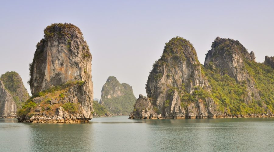 Limestone Rock Outcrops Halong Bay