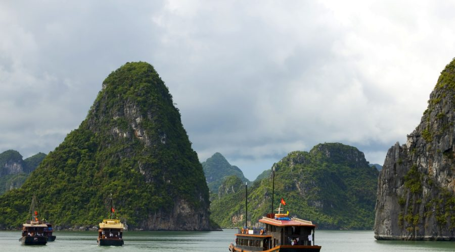 Junks In Halong Bay